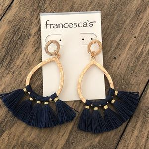 Francescas Gold Tone Teardrop Tassel Earrings Navy